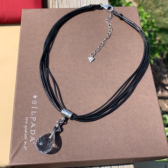 N1494 Silpada faceted quartz drop necklace